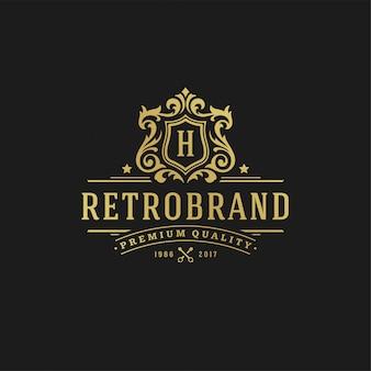 Letra de design de logotipo de luxo h