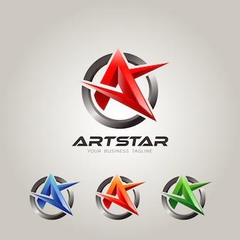 Letra de estrela abstrata uma forma
