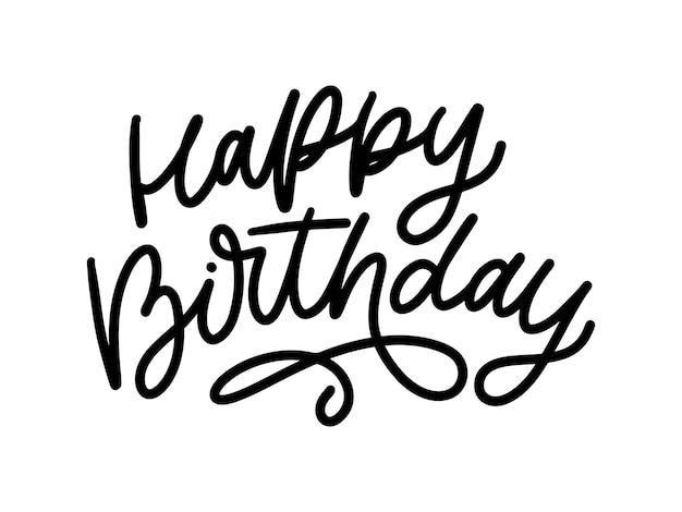 Letra de feliz aniversário em ilustração de texto tipografia pincel de caligrafia