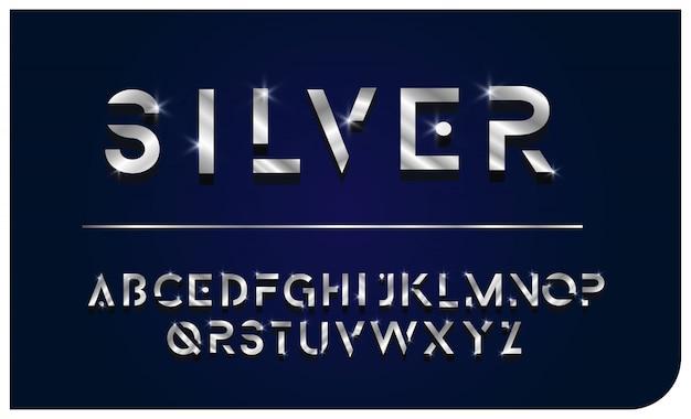 Letra de fonte alfabeto prata brilhante
