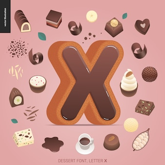 Letra de fonte de sobremesa x