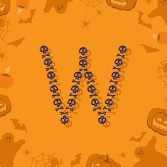 Letra de halloween w de caveiras e ossos cruzados para a fonte festiva de design para feriado e festa em orang ...