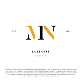 Letra de iniciais do monograma criativo mn mn logotipo de luxo premium design de inspiração de ícone de logotipo