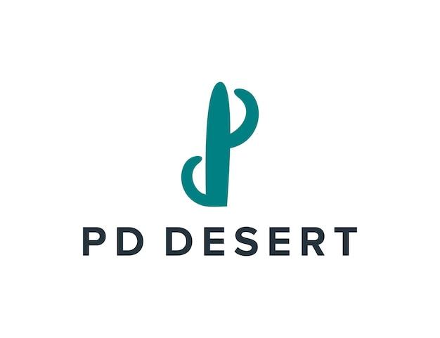 Letra de iniciais pd deserto simples, elegante, criativo, geométrico, moderno, design de logotipo