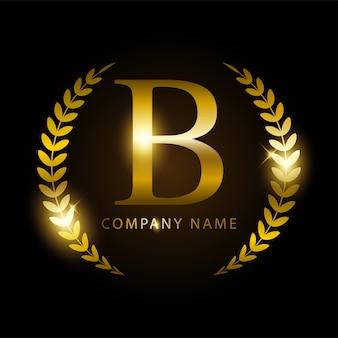 Letra de ouro b de luxo para identidade de marca ou rótulo premium