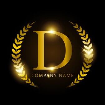 Letra de ouro d de luxo para identidade de marca