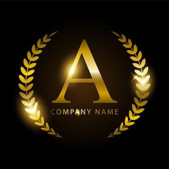 Letra de ouro de luxo a para identidade de marca premium