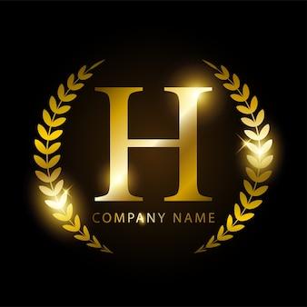 Letra de ouro de luxo h para identidade de marca