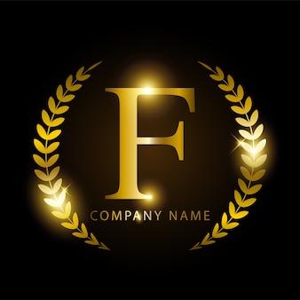Letra de ouro f de luxo para identidade de marca