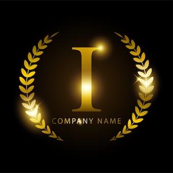 Letra de ouro i de luxo para identidade de marca