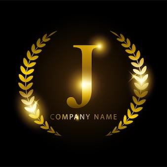 Letra de ouro j de luxo para identidade de marca ou rótulo premium.