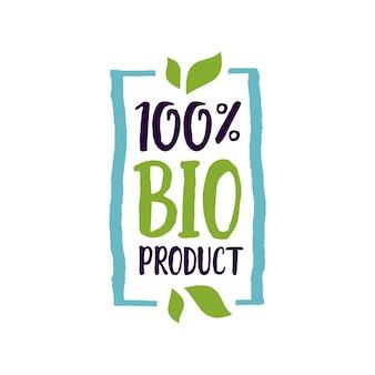 Letra de produto bio de cem por cento