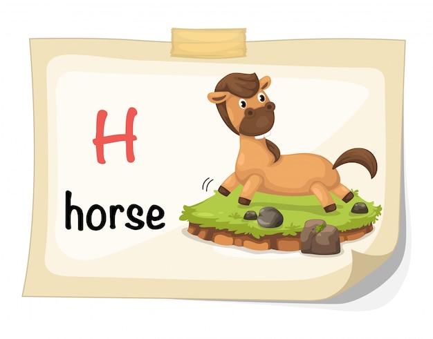 Letra do alfabeto animal h para vetor de ilustração de cavalo