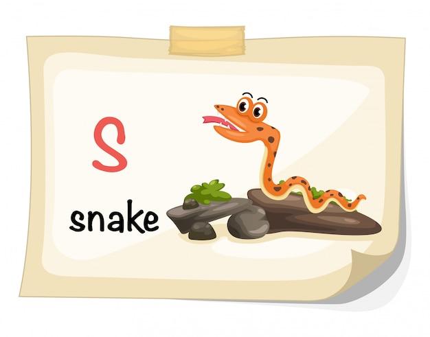 Letra do alfabeto animal s para vetor de ilustração de cobra