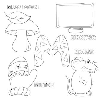 Letra do alfabeto com letras do alfabeto - m. imagens da letra - livro de colorir para crianças - monitor, mouse, luva, cogumelo