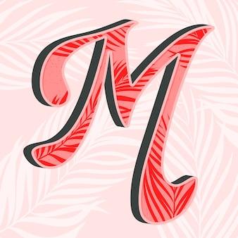 Letra do alfabeto criativo m com folhas