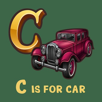 Letra do alfabeto de crianças c e carro