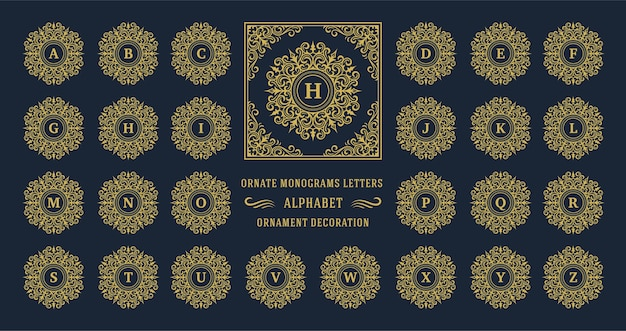 Letra do alfabeto de monograma vintage com moldura decorativa floreada