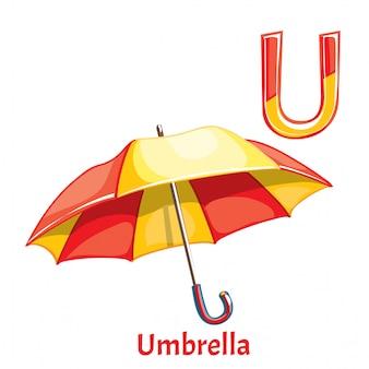 Letra do alfabeto de vetor u. guarda-chuva