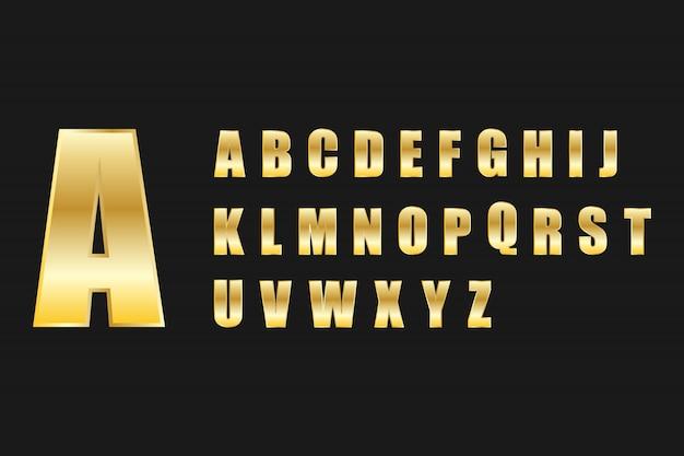 Letra do alfabeto definir estilo metal ouro