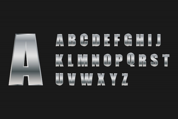 Letra do alfabeto definir estilo metal prateado.