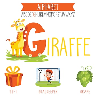Letra do alfabeto ilustrado e objetos de desenho animado