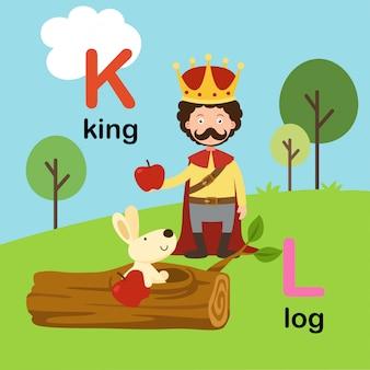 Letra do alfabeto k para rei, l para log, ilustração