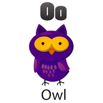 Letra do alfabeto o-coruja
