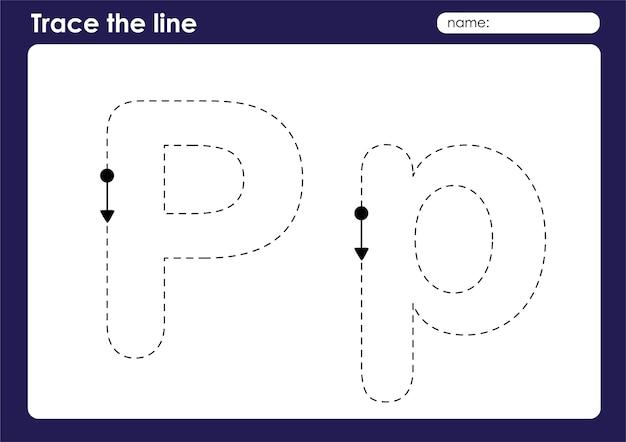 Letra do alfabeto p na planilha pré-escolar de linhas de rastreamento