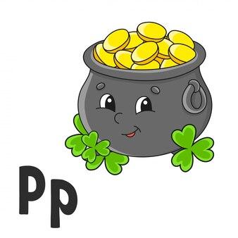 Letra do alfabeto p. pote de ouro. cartões flash abc. personagem de desenho animado bonito isolada no branco