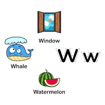 Letra do alfabeto w