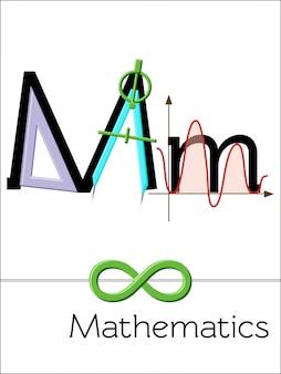 Letra do cartão flash m é para matemática. alfabeto de ciência para crianças.