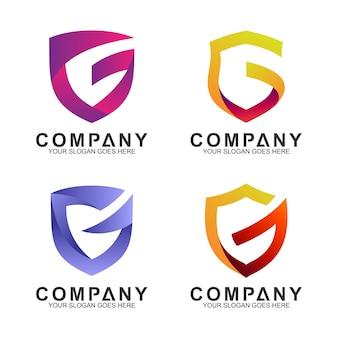 Letra do escudo g conjunto de logotipo de negócios