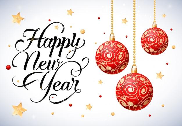 Letra do feliz ano novo com bolas