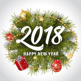 Letra do feliz ano novo com grinalda