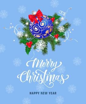 Letra do feliz natal com flocos de neve