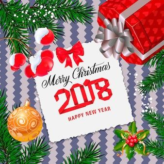 Letra do feliz natal com ramo de abeto