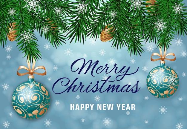 Letra do feliz natal com sprig de abeto