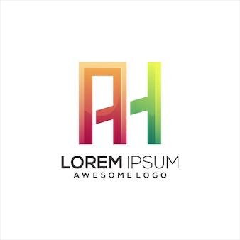 Letra do logotipo ah inicial colorido gradiente abstrato