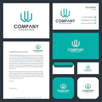 Letra do logotipo inicial w e cartão de visita premium