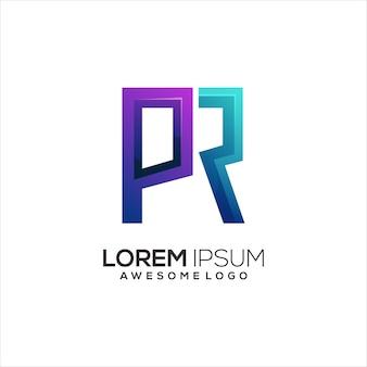 Letra do logotipo pr inicial colorido gradiente abstrato