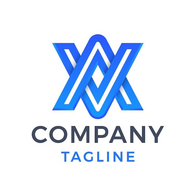 Letra do monograma moderno va abstrato 3d em linha design de logotipo gradiente azul