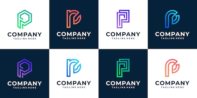 Letra do monograma p coleção inicial do modelo do logotipo
