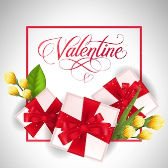 Letra dos namorados com presentes e tulipas