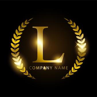 Letra dourada l de luxo para identidade de marca ou rótulo premium.