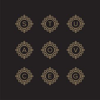 Letra dourada s, t, u, a, o, v, c, e, g, logotipo.