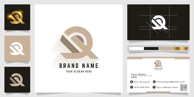 Letra dq ou logotipo do monograma dr com design de cartão de visita