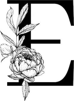 Letra e. alfabeto floral, alfabeto botânico