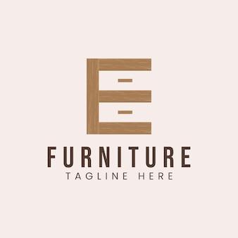 Letra e com inspiração de design de logotipo de conceito de móveis de madeira