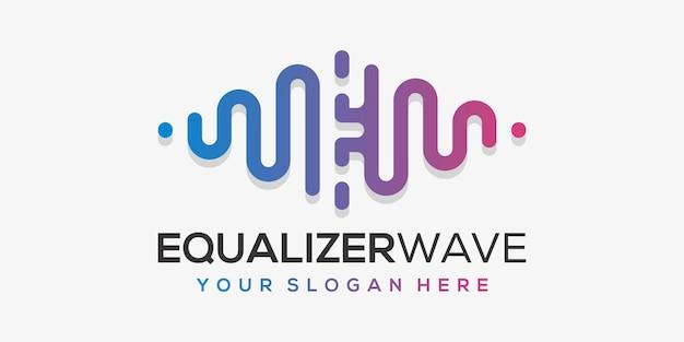 Letra e com pulso. elemento acorde. modelo de logotipo música eletrônica, equalizador, loja, música de dj, boate, discoteca.